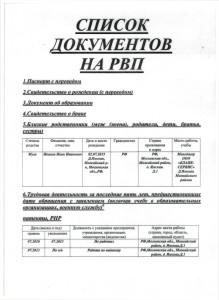 Список документов на рвп